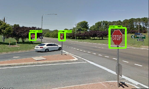 A Google Street View image showing the streets signs highlighted.